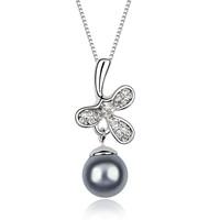 Fashion accessories female sweet clover pendant austria crystal pearl