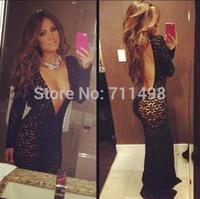2014 New Fashion Valentine's Day Long Sleeve Deep V Neck Dress, Black Sexy Bodycon Dress
