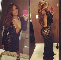 2014 New Fashion Valentine's Day Long Sleeve Deep V Neck Dress, Black Sexy Bodycon Dress