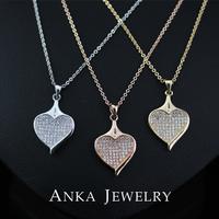 Heart Design Pear cut Top Quality Swiss Cubic Zircon Pendant Necklace
