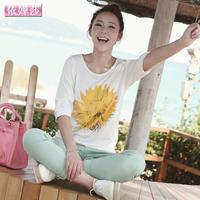 Yihuasha 2014 summer short-sleeve loose plus size batwing shirt long design white short-sleeve T-shirt women's