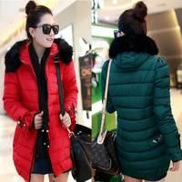 women's Down coat 2014 new winter jacket women Long paragraph Korean version of Slim fur hood solid color thick down jacket 818