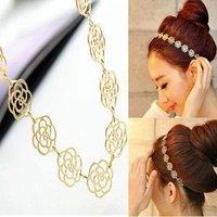 Fashion New Lovely Metallic Lady Hollow Rose Flower Elastic Hair Head Band Headband Headwear Accessories Women Garland