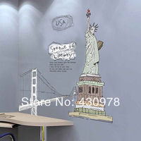 0763 Free Shipping 1Pcs The statue of liberty Freedom The White House Golden Gate Bridge Removable PVC Wall Stickers
