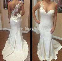 2014 Beauty One Shoulder Sweetheart Beaded Sheer Back Mermaid Evening Dresses