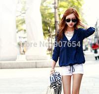 Korean Version of the New Women's Summer Drawstring Tie Cardigan Casual Shirt