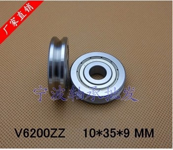 20pcs/lot V grooved straightener guide wheel bearings A1002ZZ V6200ZZ V90 10*35*9 mm pulley bearing V groove width 4.2 mm(China (Mainland))
