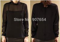 2014 Korean Version of the New Women's Spring and Summer Stitching Microlens Chiffon Shirt Collar Shirt