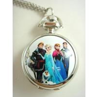 Silver Princess Frozen Watch Necklace- Ladies Necklace Pendant Watch - Quartz