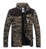 New Autumn Man 2014 Brand Men's Vintage Camouflage Cargo Outdoor Thick Men Designer Down Jackets Coats Cotton Padding
