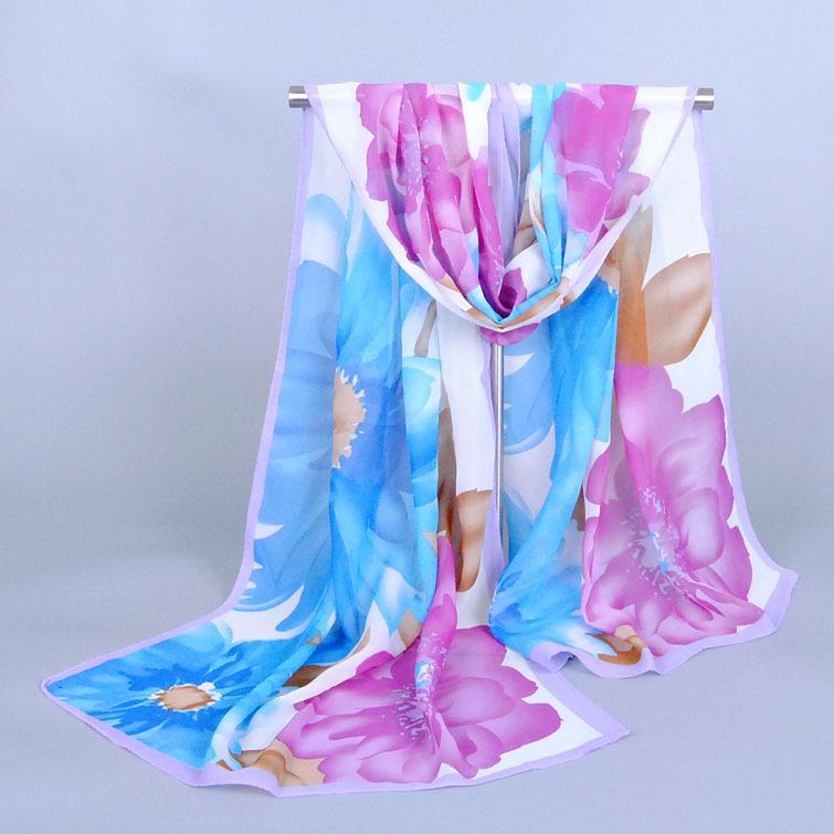 50cm*160cm Hot Sale Peony Print New Korean Chiffon Silk Print Scarf Fashion Thin Spring Autumn Winter Scarves Women Female(China (Mainland))