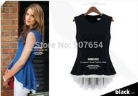 Candy-colored Wild Stitching Vest Fake Two Dress Chiffon Shirt