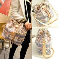 2014 New Ladies Bag Women Handbag National Trend Bohemia Style Print Chain Drawstring Bucket Bag Women Messenger Bag Clutch Bag