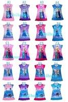 Free shipping New 2014 Summer Girls Dress Children Clothing Cartoon Frozen Anna Dress Kids Child Baby Girls Dresses Clothe 2-7T