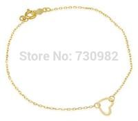 pure 14k yellow glod  europen style  women bracelet  small love chain  fashion bracelet  gift  free shipping