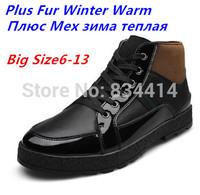 (Plus Size 13) 2014 Winter Plus Fur Men's snow boots Brand Genuine Leather ankle boots Fashion Flat Warm men martin boot