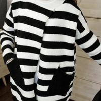 H6612 new women's winter essential quality Korean wild black and white zebra striped sweater cardigan coat