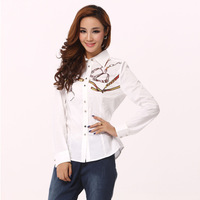 England spring 2014 new European and American white collar printed long-sleeved blouse special clearance