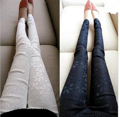 frühjahr neue 2014 frauen spitzen häkeln leggings casual damen baumwolle bestickt schlanke stift hose plus size lange Hosen