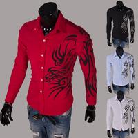 2014 Spring Fashion New Long Sleeve Dragon Print Shirts Men,Quality Boys Outerwear Shirts,Outdoor Cotton Shirt