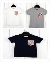 new 2014Children Kids Clothing Tees Children's T-shirt pocket plaid short-sleeved T-shirt boys summer baby t shirt E3