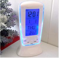 Multifunctional blue luminous alarm clock creative colorful lazybones alarm clock with calendar thermometer screen