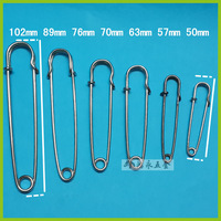 Free shipping 200pcs High quality Larger silver Safety Pins SIZE 65mm