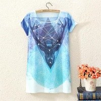 2014 summer in the new digital printing long women's short sleeve T-shirt, starry sky fawn, ms Cotton kind of blended T-shirt