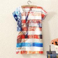 New Fashion Woman Style Womens Short Sleeve American Flag Graphic Digital Printing T Shirt Tops Tee