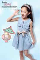 2014 new baby girl spring summer dress girls casual princess dresses kids cotton thin denim sleeveless dress bowknot beltE1