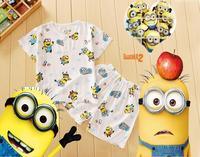 Hot!new 2014 children clothing set,anime figure despicable me minions clothes kids pajama sets,Cartoon noil poplin suit  L2