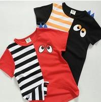 2014 summer new arrival fashion wholesale 5pcs/lot 100% Cotton top tee cartoon eyes striped children kids girls boy t shirts