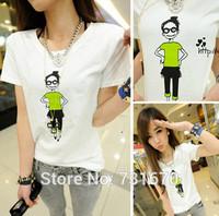 Green Top Girl Slim Round Neck Short Sleeve T-shirt Women T-shirt TX009