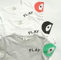 2014 summer new arrival fashion wholesale 5pcs/lot 100% Cotton top tee cartoon play eyes children kids girls boy t shirts