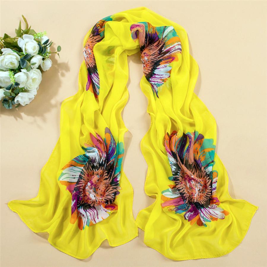 160cm*50cm 2014 design new brand sun flowers scarf super large beautiful female scarf women bohemia free shipping white black(China (Mainland))