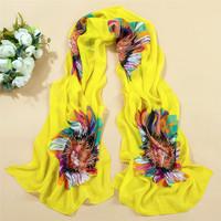 160cm*50cm 2014 design new brand sun flowers scarf  super large beautiful female scarf women bohemia free shipping white black