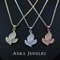 New Flower Copper Pendant Necklace CZ Stone Women