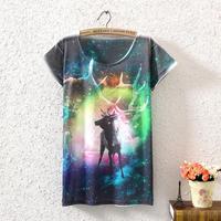 New 2014 summer women t-shirts fashion animail print tops for women's short-sleeved cat casual women harajuku T shirt