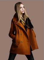 2014 Autumn winter jackets women winter coat thick woolen long double-breasted wool coat 2E151