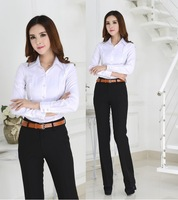 New 2014 Autumn Winter Formal Blouses Suits Blouses With Pants For Office Lady Work Wear Uniforms Style Clothing Set Plus Size