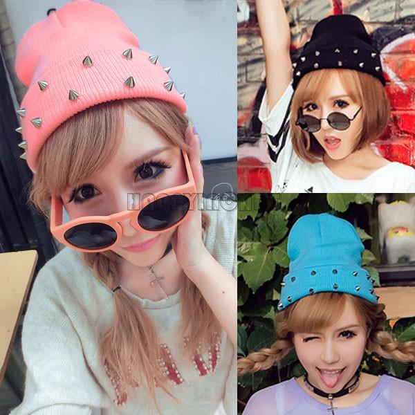 Novelty Women Rivet Cool Warm Crochet Knitted Knit Ball Ski Cute Cap Hat Beanie Gift Idea Popular Candy colors CPJ183(China (Mainland))