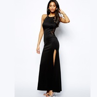 2014 Sexy Women Long Dress Lace Patchwork Ankle-Length Strap Evening Dress Black Color Party Dresses with Long Slit Best Quality