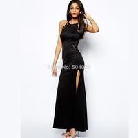 Plus Size Women Maxi Dress Lace Patchwork Ankle-Length Strap Evening Dress Black Sexy Party Dresses with Long Slit Best Quality