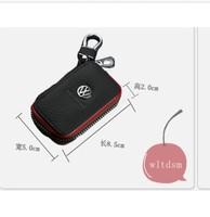 1P Black Leather Car Remote Key Case Fob Zipper Key Bag Holder For Volkswagen VW