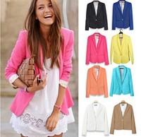 Free Shipping Womens Blazer New 2014 Candy Color Jackets Suit One Button Slim Ladies Blazers Work Wear Blazer 70-4001