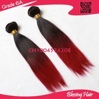 Blessing hair 6A  4 Pcs Lot Brazilian Virgin Hair  Three Tone Color 1b 99j burgundy Ombre Hair Extensions Straight Human Hair