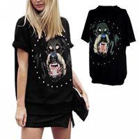 East Knitting Chic Dog head Rottweil Print shirt Women Summer T shirt MEN fashion Tops Short Sleeve tshirt  FE1087#M1