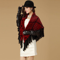 2014 New Arrivel 100% Real Knitted European Mink Fur Shawls, Mink Fur Pashmina, Mink Scarf  SU-14051 EMS Free Shipping