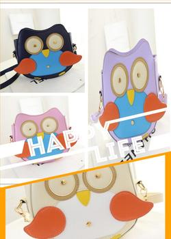 2014 новых женских сумки мультфильм сова мешок цвет блока мини сумки сумка