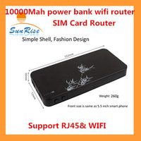 Smart Moblie power bank 3G wifi router with sim card slot 10000Mah 3G WCDMA&EVDO  Power bank wifi  SIM router with RJ45